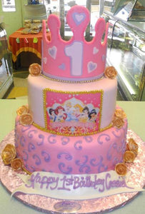 Princess Castle Cake with Edible 3D Crown and Edible Image - B0417