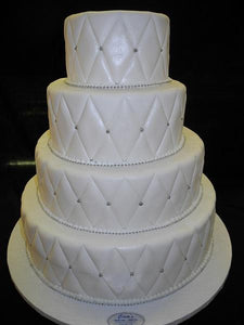 Wedding white with Diamond imprint Silver Pearls 4 tier - W053