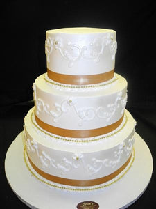 Wedding Cake Cream with Gold Pearls and Scroll work - W069