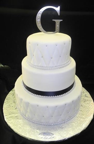 Wedding Fondant Cake with Dimond Imprint Silver Pearls and Black Ribbon - W059