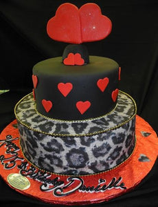 Heart and leapord Cake - B0611