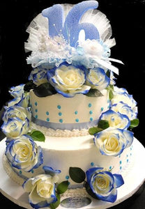 Sweet 16 Cream cake and fresh flowers - B0318