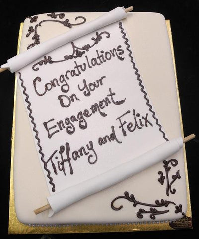 Engagement Cake Scroll - W143
