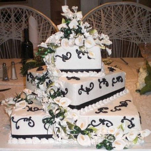 Black and White Wedding Cake Cream - W171