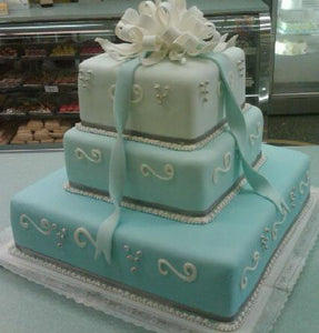 Wedding Cake 3 Tier Square with Bow Fondant - W070