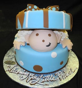 Baby Boy Gift box Cake 1 tier Baby Shower - BS084