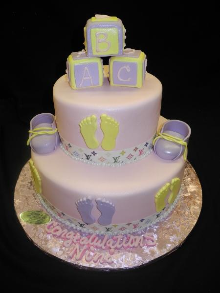 Baby shower Cake Baby Blocks, feet, and Shoes - BS100