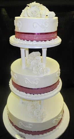 Cream Wedding Cake 3 tier - W004
