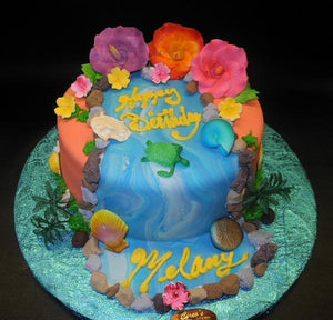 Hawaiian Birthday Cake with edible Sugar Flowers