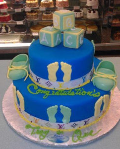 Boy Baby Shower Cake fondant shoes and Blocks - BS150