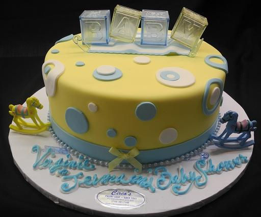 Baby Shower Cake Plastic Blocks and Shoes 1 Tier - BS051