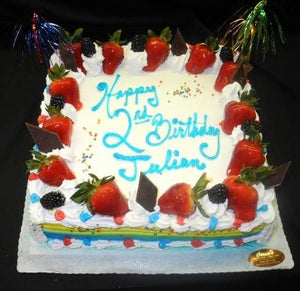 Birthday Cake with Strawberries - B0766