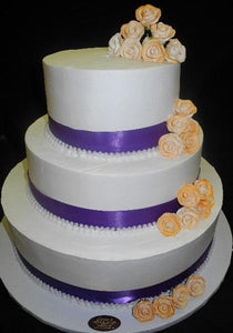 Elegant and Affordable Wedding Cake Cream and Sugar Flowers - W145