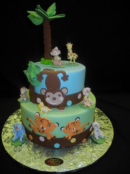 Safari Animal Theme Baby Shower Cakes - BS019