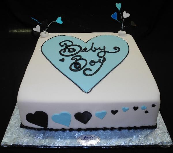 Blue Heart Baby Shower Cake - BS146
