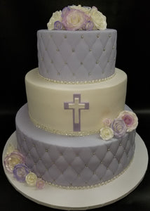 Purple and white with sugar roses. R061