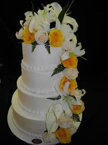 Cascade Flowers Wedding Cake - W158