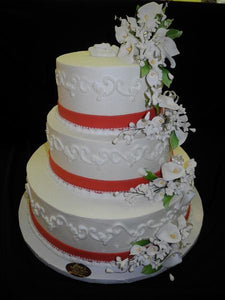 Tier wedding cake with sugar flowers - W075