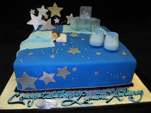 Baby sleeping with stars babyshower cake - BS044