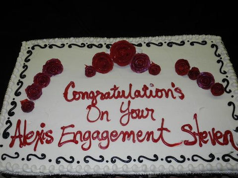 Red Velvet Full Sheet Engagement Cake - W091