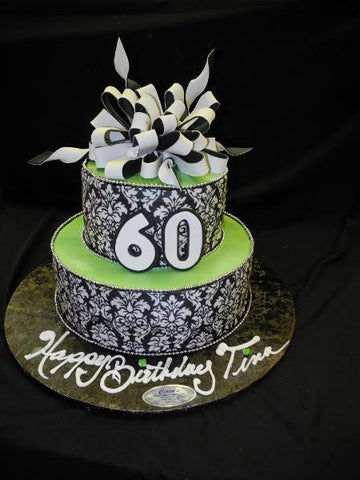 60th Birthday Demask Tier Cake - B0143