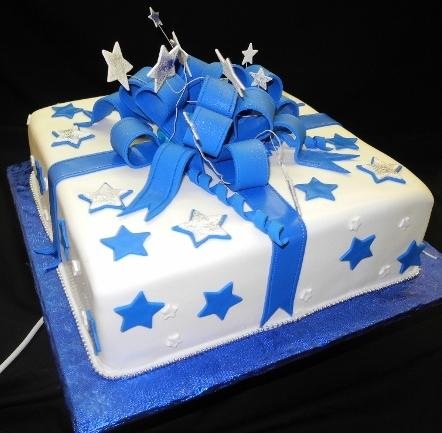 Blue and white Star Fondant Birthday Cake - B0758