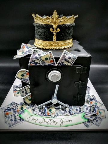 Money Safe cake with King's crown CS0289
