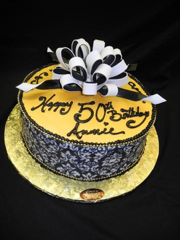 Golden Birthday Cake with White Bow - B0094
