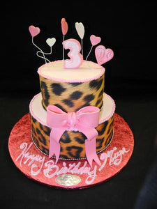 Zebra and Pink Hearts Birthday Cake - B0222