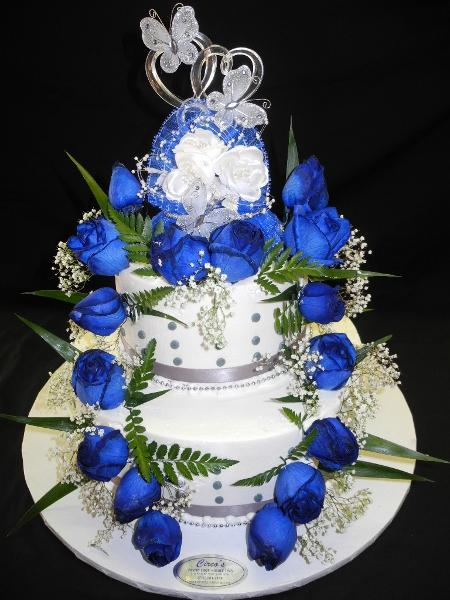 Blue and Silver Cream Wedding Cake - W170