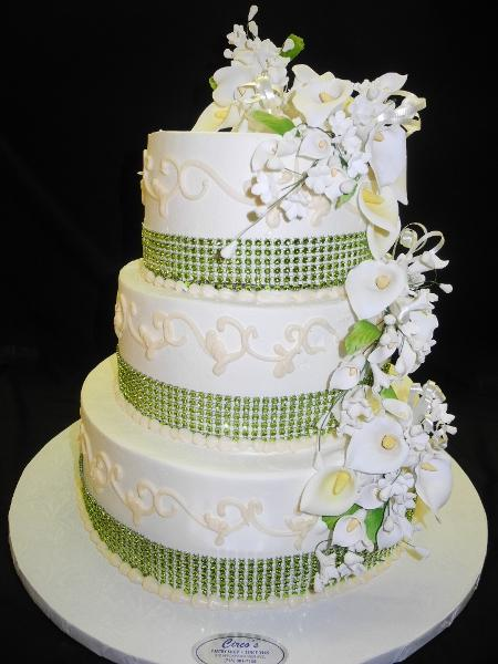 Green and White Cream Wedding Cake - W127