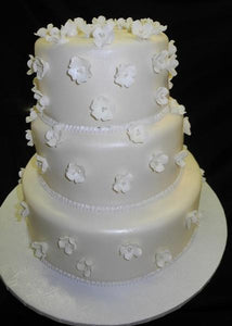 Fondant Wedding Cake with Sugar Flowers Fruit  blossoms - W135