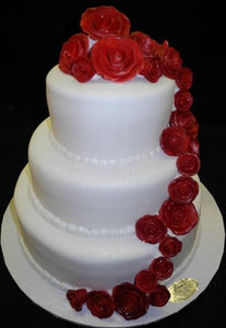 Wedding Cake fondant with Roses - W067