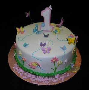 Butterfly 1st Birthday Cake - B0128