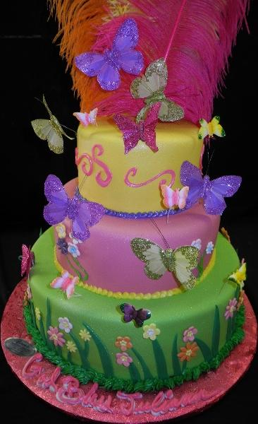 Butterfly and Feathers  birthday Cake - B0748