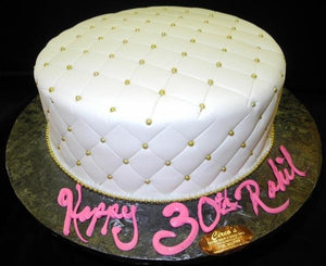 White and Gold Birthday Cake - B0248
