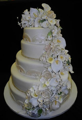 Cascade Flower Wedding Cake - W003