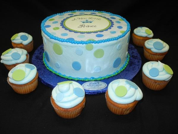 Baby Shower Prince Cake with Cupcakes - BS116