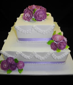 Square Cream Wedding Cake - W081