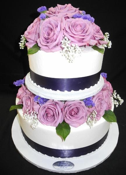 White and Lavender Wedding Cake - W009