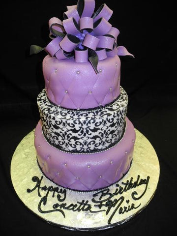 Purple Demask Wedding Cake - W093