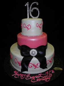 Sweet 16 Pink and White Cake - B0302