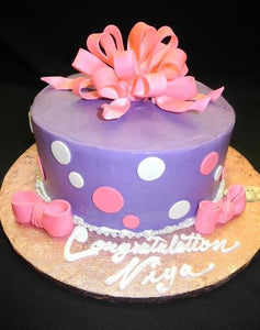 Icing Lavender with Pink Bow Birthday Cake with Fondant Polka dots - B0588