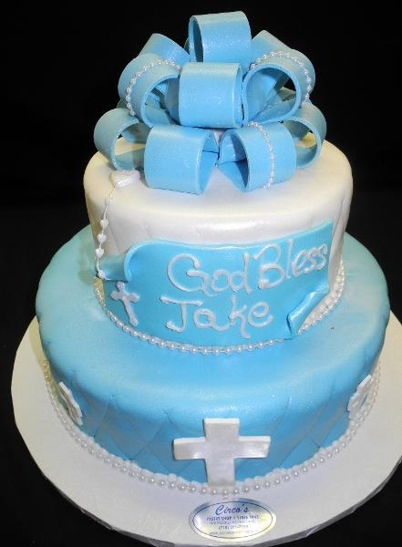 Religious Blue and White Cake - R034
