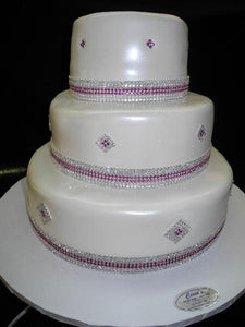 Pink Diamonds Wedding Cake - W098