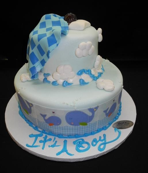 Fondant Tier Cake with Baby sleeping on top with Blanket