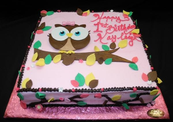 Pink and Brown Owl Birthday Cake - B0447