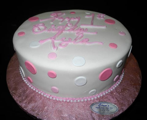 Ivory and Pink first Birthday Cake - B0584