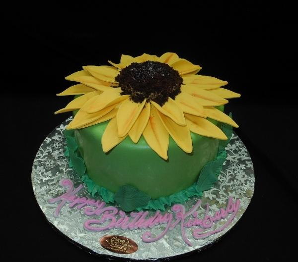Sun Flower Fondant Birthday Cake - B0329