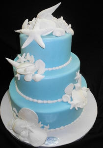 Wedding Sea Theme Fondant Cake - W010